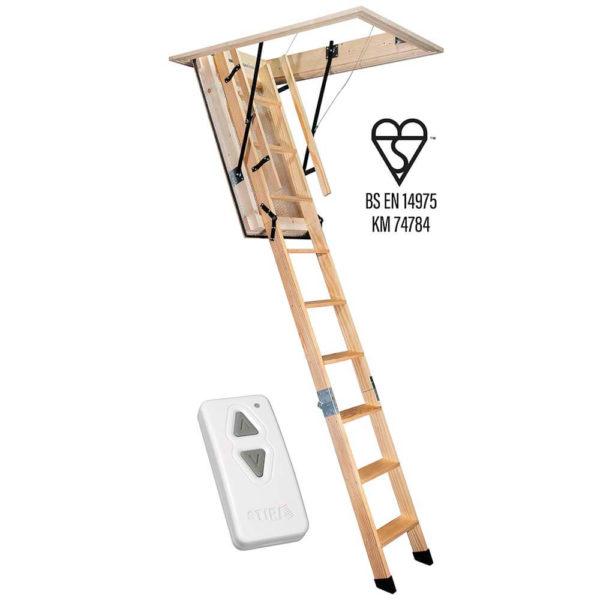 Stira Loft Ladder in the open position